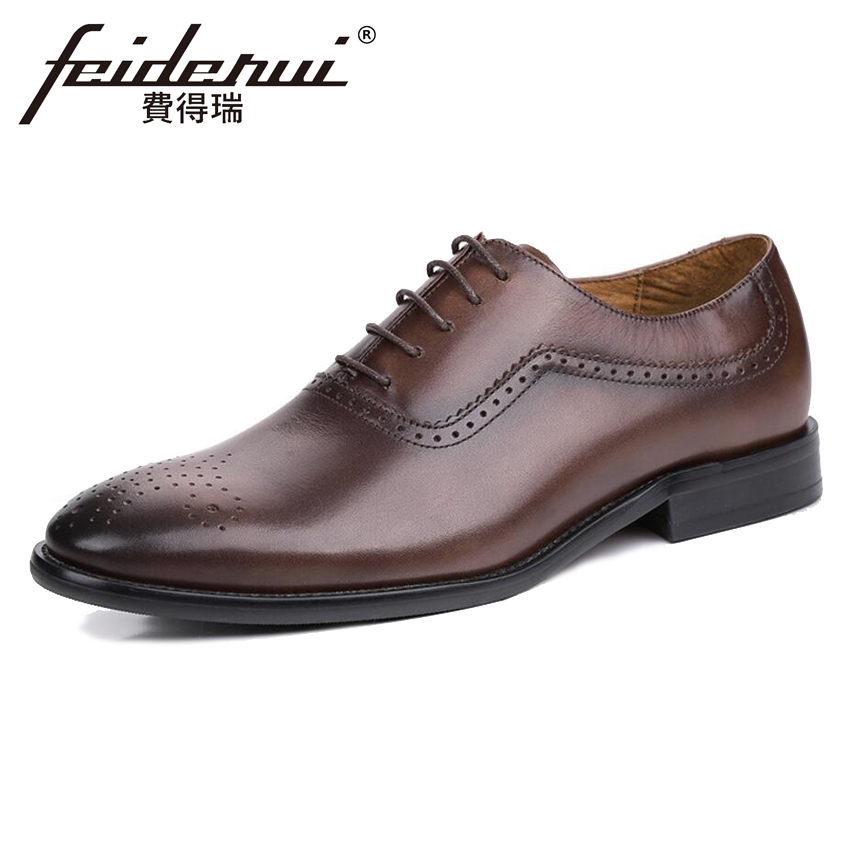Vintage Designer Genuine Leather Men's Handmade Oxfords Luxury Round Toe Man Business Flats Formal Dress Wedding Shoes KUD09 new arrival luxury man casual shoes genuine leather cow comfortable loafers round toe designer brand men s business flats gd20
