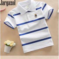 Jargazol T Shirt enfants vêtements col rabattu bébé garçon haut d'été Tshirt couleur rayures Vetement Enfant Fille Camisetas Fnaf
