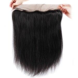 Image 3 - Soul bayan düz dantel Frontal demetleri ile % 100% insan saçı 3 demetleri ile Frontal kulak için kulak dantel Frontal kapatma demetleri ile