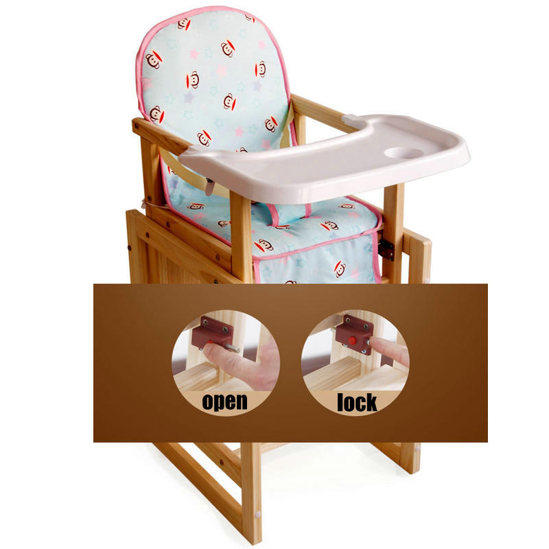 2 in 1 multifunctional wood baby feed chair, 5 grade adjust seat height baby highchair, PP material plate kids dining chair