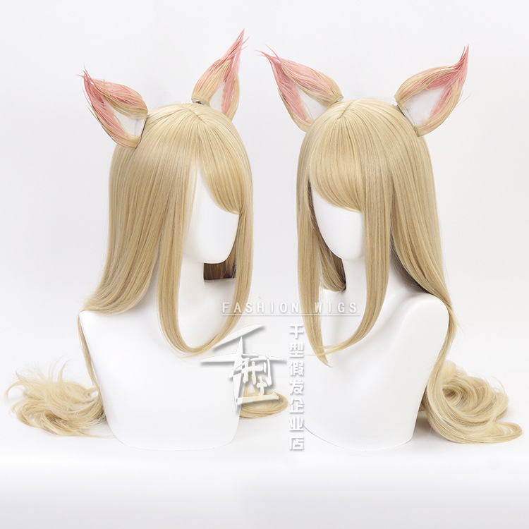 Game LOL WOMEN ROLE PLAY  KDA Team Ahri Cosplay Wig Long Blonde hair  Wigs Costumes + 2  Ears