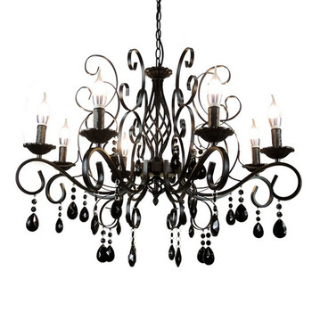 E14 Led bulb Candle Light Lamp European Retro Chandelier Metal Body Glass Crystal Decoration Lighting Fixture