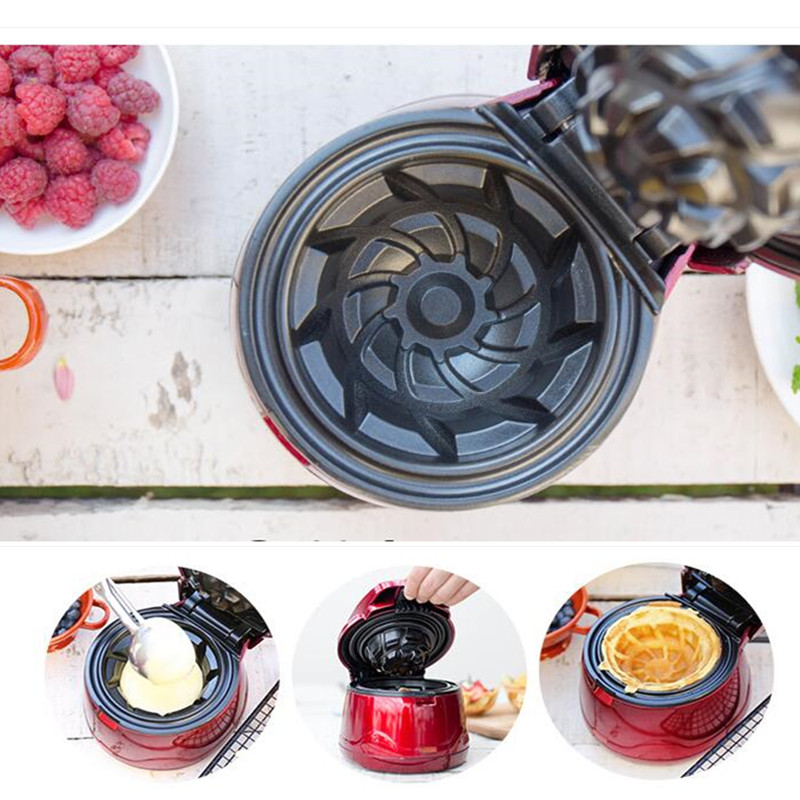 220V Non-stick Electric Ice Cream Machine Commercial DIY Waffle Bowl Maker Multifunctional Iron Mold Plate Baker