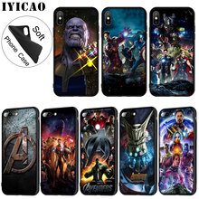 IYICAO Marvel Marvels The Avengers Soft Silicone Phone Case for iPhone XR X XS 11 Pro Max 6 6S 7 8 Plus 5 5S SE TPU Black Cover
