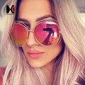 Moda Oval Fio Oversize óculos de Sol Das Mulheres Marca Designer Big Frame Da Liga de Óculos UV400 Óculos de Sol Da Lente Do Espelho