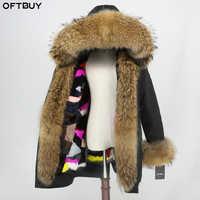OFTBUY Waterproof Long Parka Natural Raccoon Fur Collar Hood Real Mink Fur Liner Coat Winter Jacket Women Outerwear Detachable