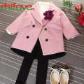 chifave Autumn Winter Warm Korean Girls Children Turn-down Collar Jackets Double Breasted Outwear Coats for 3-7 years old Girls