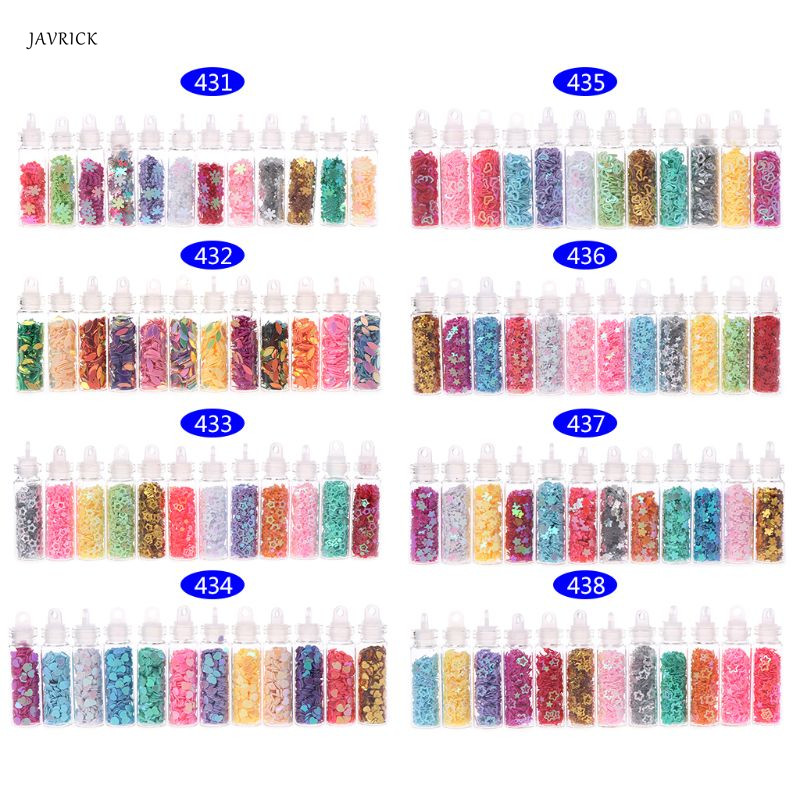 12 Bottle/Set  Glitter Filling Tools Filler Decoration Star Heart Floral Ornaments  DIY Tool Sequin Epoxy Resin Mold Accessories