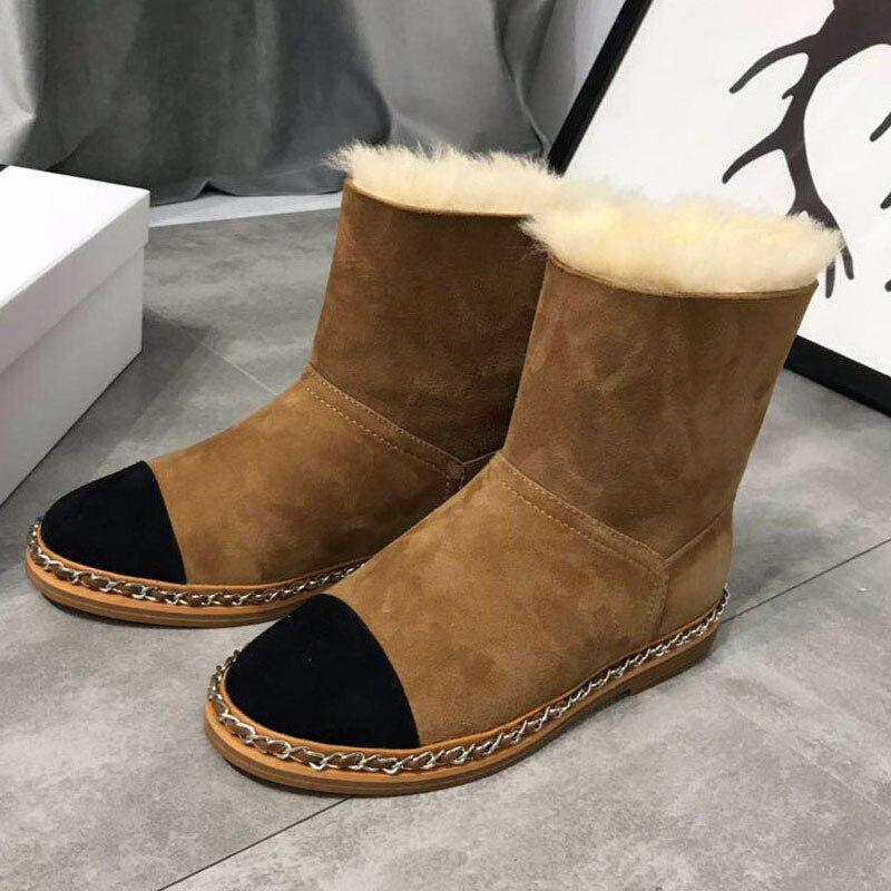Botas As Show Show Design Leder Stiefel Mode Warme Wolle Kette Neue Stiefeletten as Schuhe Innen Marke Wohnungen Mujer Echtem Frauen Aus Pelz Schnee ARWqw