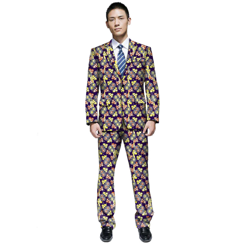 Africa Man's Clothing Dashiki Print Suit Jacket And Pants Together Men Blazers African Casual Men Blazer For Party Customized