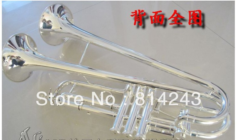 Small Brass Trumpet Bb Trumpet Double  Horn Surface  Silver Plated Trompete Professional Musical Instruments traditional squeeze bulb horn trumpet for bike
