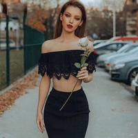 2018 New Spring Bandage Dress Women Short Sleeve Off The Shoulder Two Piece Set Sexy Night Out Celebrity Party Dress Lace Women