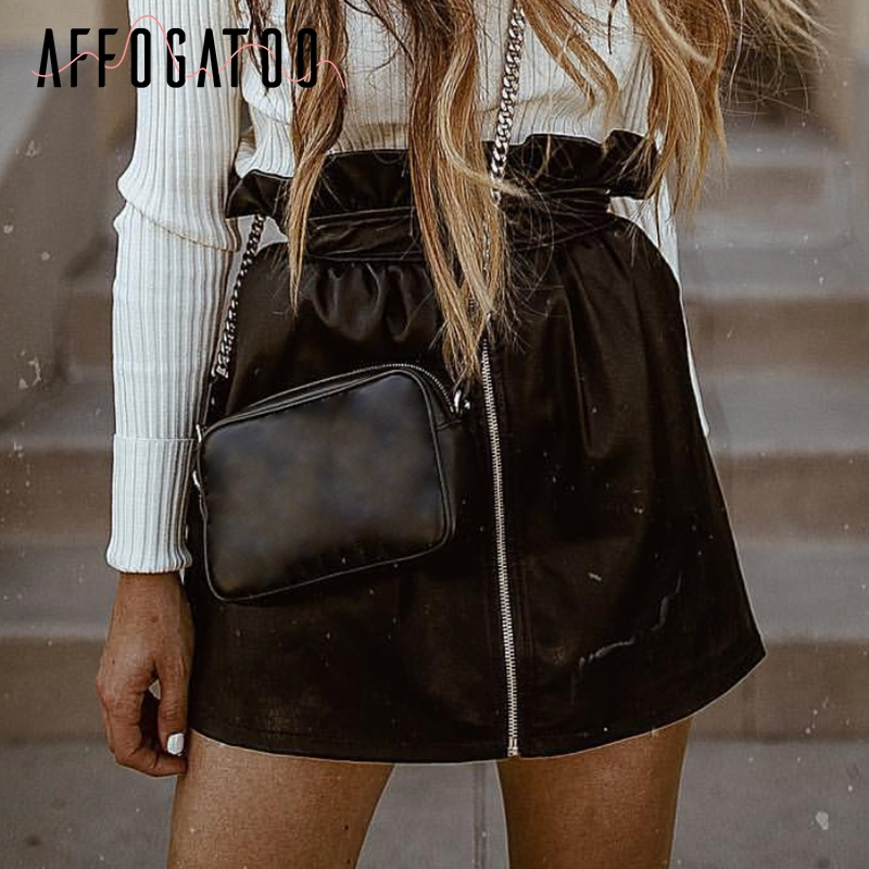 <font><b>Affogatoo</b></font> <font><b>Sexy</b></font> Ruffle <font><b>zipper</b></font> <font><b>pu</b></font> <font><b>leather</b></font> women skirt High waist female party club ladies mini skirt bottoms short black skirts image