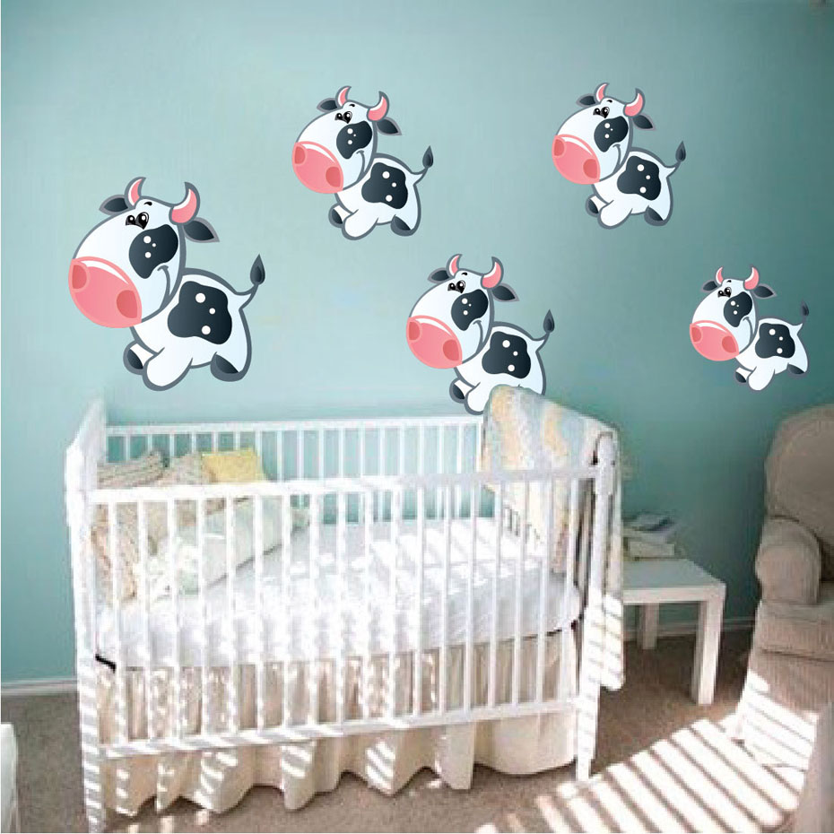 Cartoon DIY cows Wall Stickers For boys nursery Room Bedroom cute black polka Cows Wall Decals Poster Mural