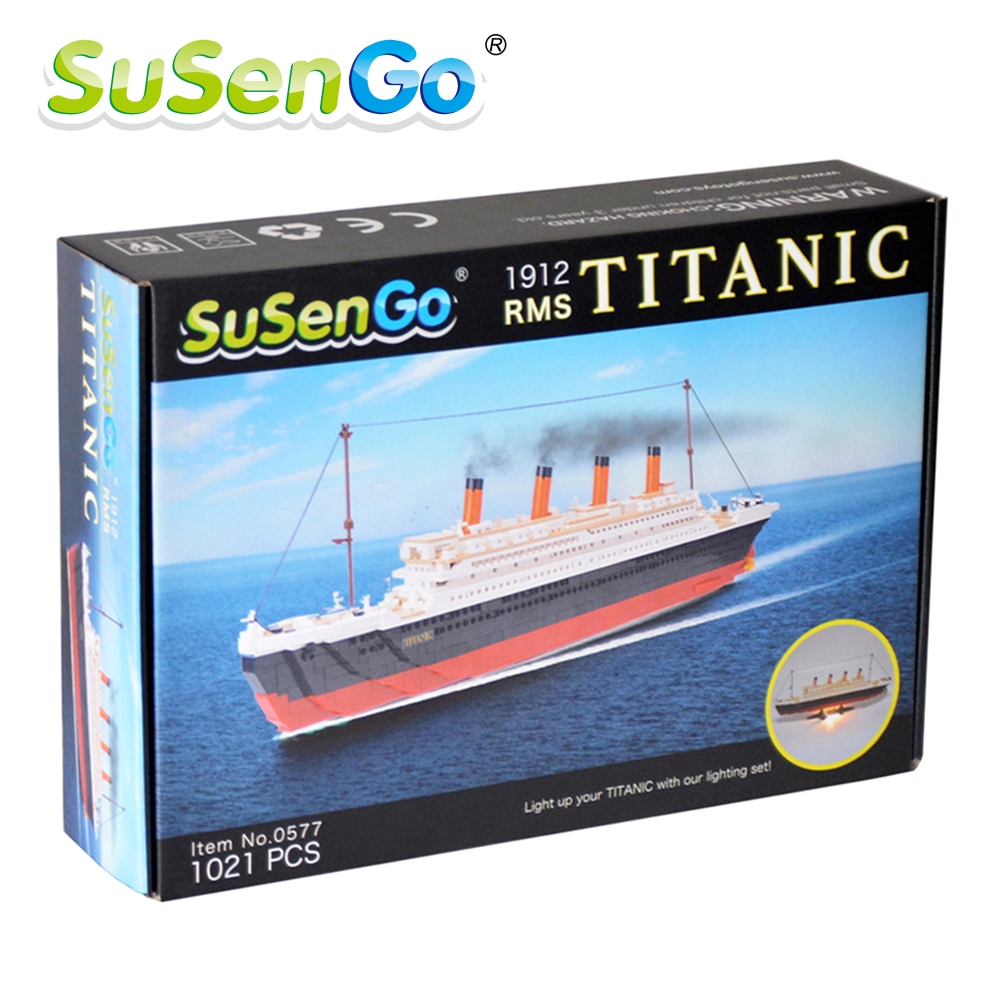 SuSenGo 1021PCS Cruise RMS Titanic Ship Boat 3D Model Educational Building Blocks Toys With Led Light Set Compatible with Lepin