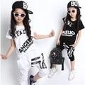 Белый черный дети взрослых девочка мальчик ДЖАЗ хип-хоп хип-хоп танца костюм хлопок Футболки шаровары одежда
