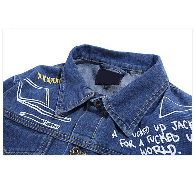 Aolamegs Men Denim Jacket Men's Graffiti Hip Hop Cowboy Jackets Fashion Male Jacket Turn-down Collar Cotton Outwear Ripped 2017 5