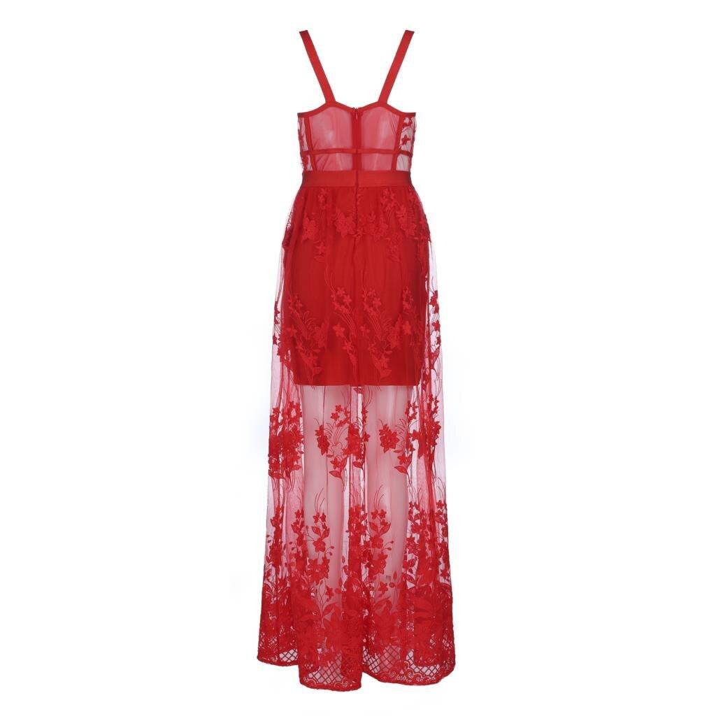Dos Sangle Luxe Dentelle 2018 Femmes De Rouge Soirée Sexy Robe Nu Deavogy Bandage Partie Nouvelle dxrCeBo
