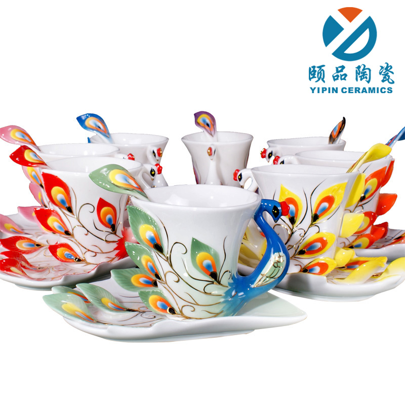 c9220cae31a Second generation Super beautiful high quality chinese ceramic cup Enamel  porcelain mug cup Red/Green/Pink/Yellow/Blue/Purple