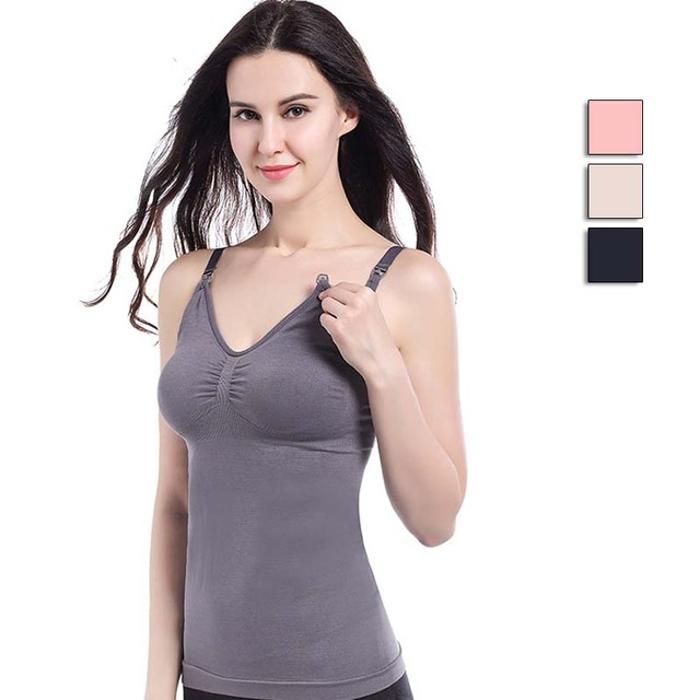 33148c2fa58 Maternity Vest Nursing Tank Tops Breastfeeding Clothes for Pregnant Women  Padded Bra Top Comfy Wireless Pregnancy Camisole Shirt