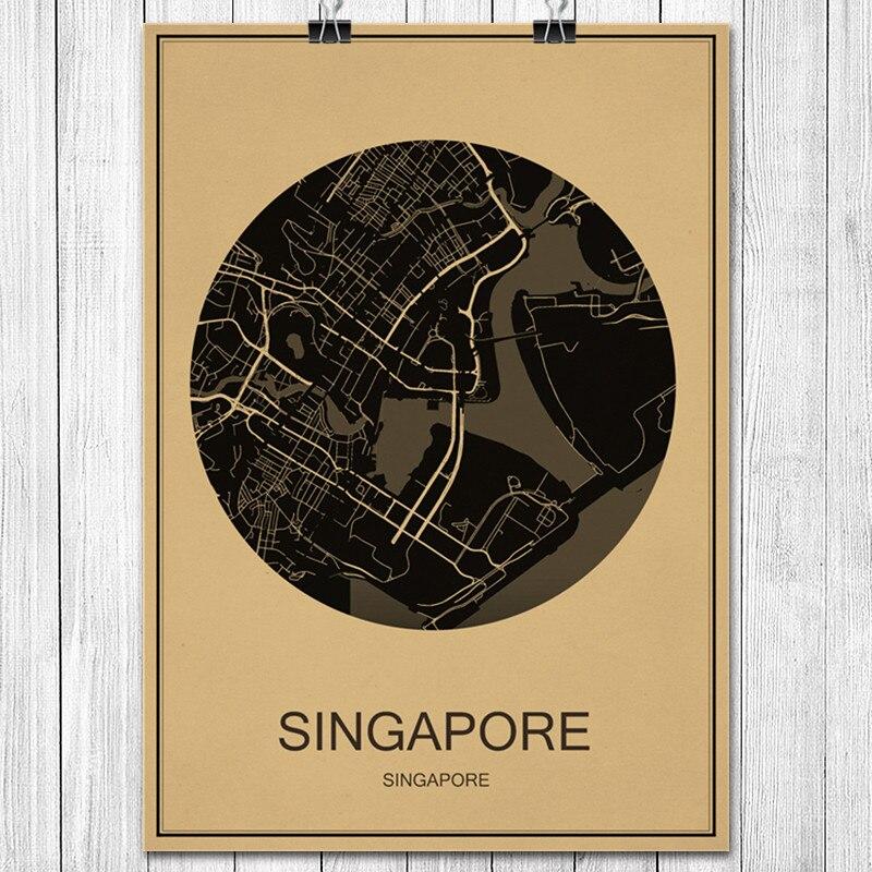 World City Map SINGAPORE Vintage Poster Retro Art Painting Kraft Paper Wall Sticker Living Room Cafe