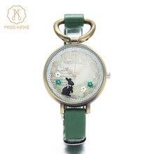 Señorita Keke Arcilla Lindo Retro Vintage Conejo Reloj de Oro Reloj de Las Mujeres Señoras de la Mujer Relojes de pulsera de Cuarzo de Alta Calidad de la Cuerda de Cuero 926