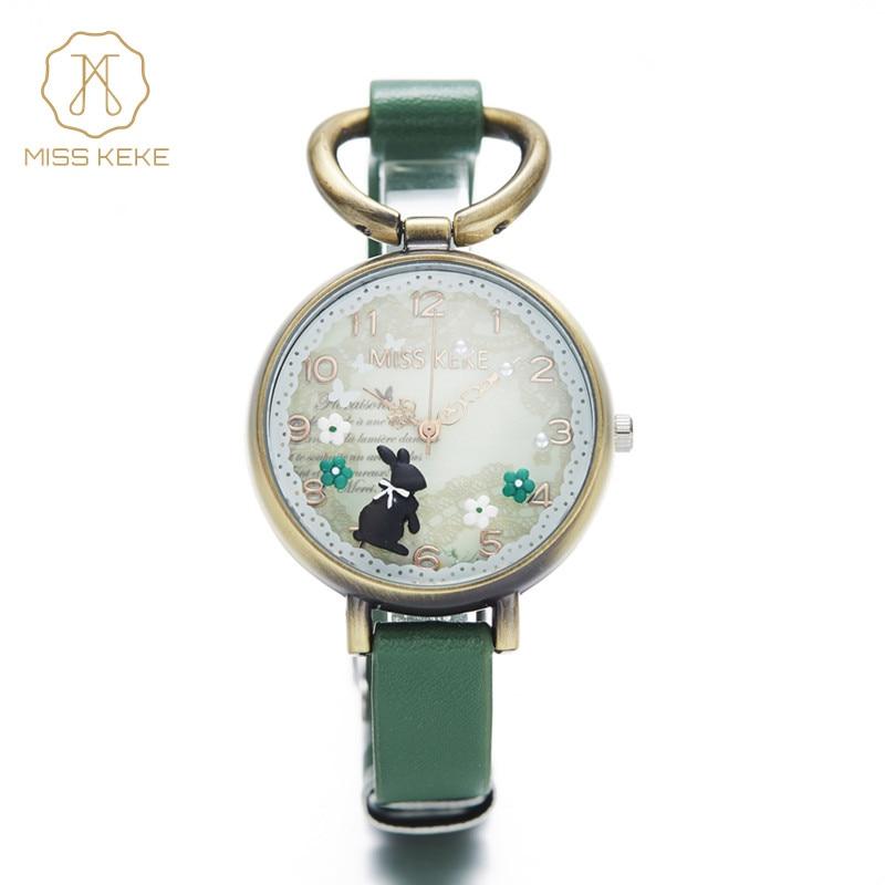 Miss Keke Clay Cute Vintage Retro Rabbit Clock Gold s