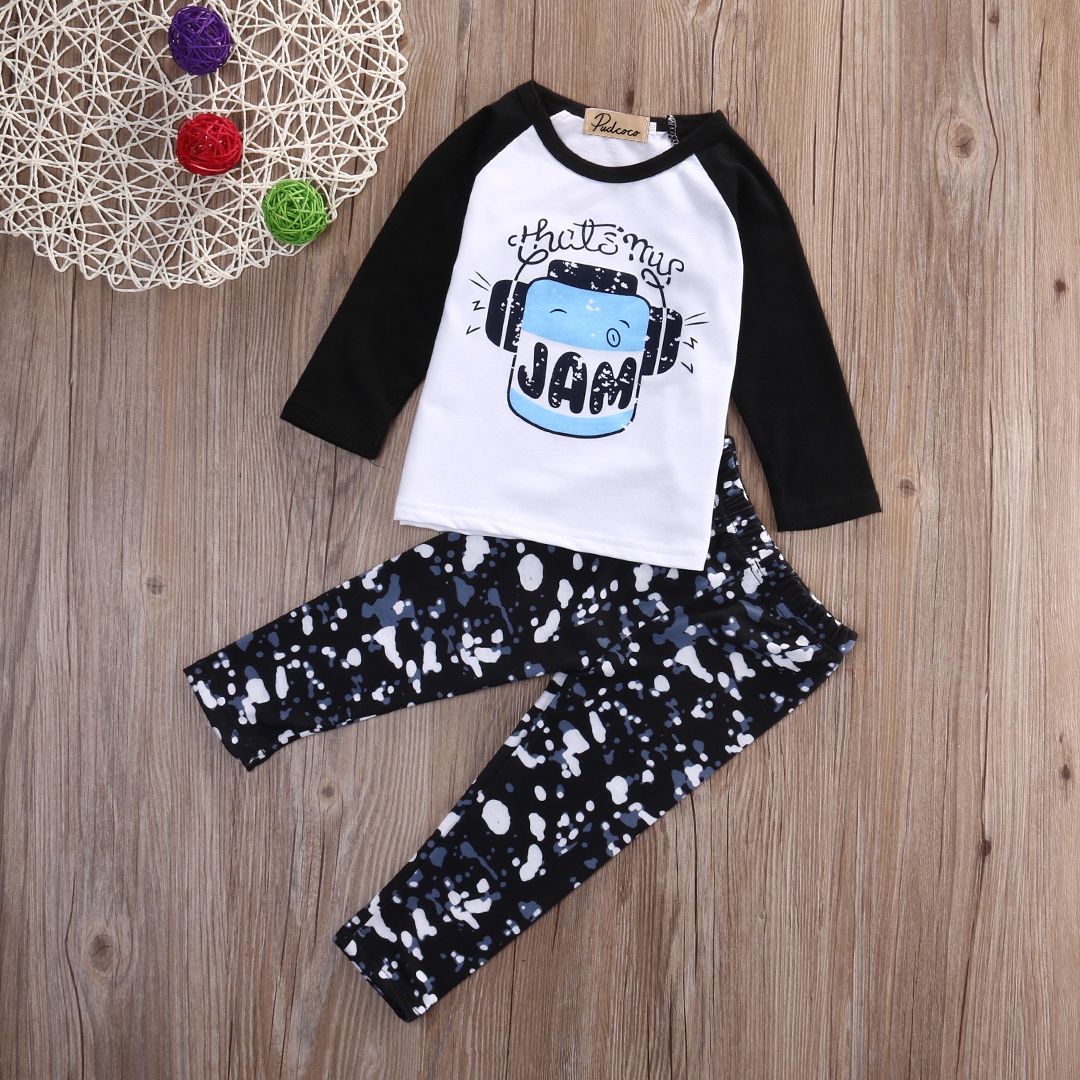 2pcs Baby Boy Summer Autumn Outfits Clothes Kids Boys Long Sleeve Print T-shirt Tops+Pants Kid Clothing Sets Cotton high quality branded boys t shirts children clothing baby t shirt kids clothes long sleeve striped cotton baby boy t shirt