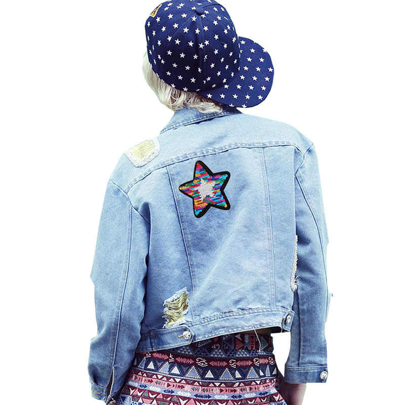 1 Pcs ใหม่เงาห้าดาว Reversible เปลี่ยนสีผสมสี Sequins เย็บบนแพทช์สำหรับเสื้อผ้า DIY แพทช์ Applique หัตถกรรม