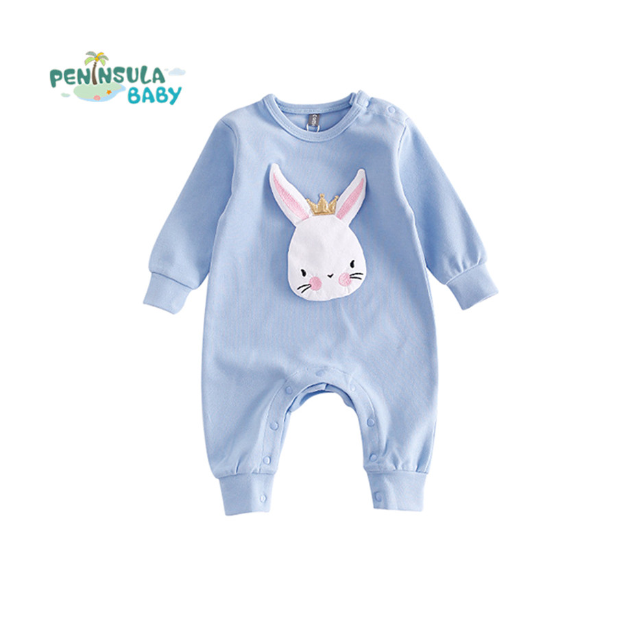 NEWEST Autumn Cartoon Rabbit Baby Rompers Newborn Clothing Cotton Long Sleeve Jumpsuits Boys Girls Outerwear Costume Wear 2016 hot baby rompers boys girls cartoon short sleeve baby rompers cotton newborn baby clothes jumpsuits clothing mama printed