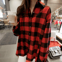 Spring And Autumn Casual Plaid Women Blouses Classic Red Black Check Boyfriend Style Long Sleeve Shirts