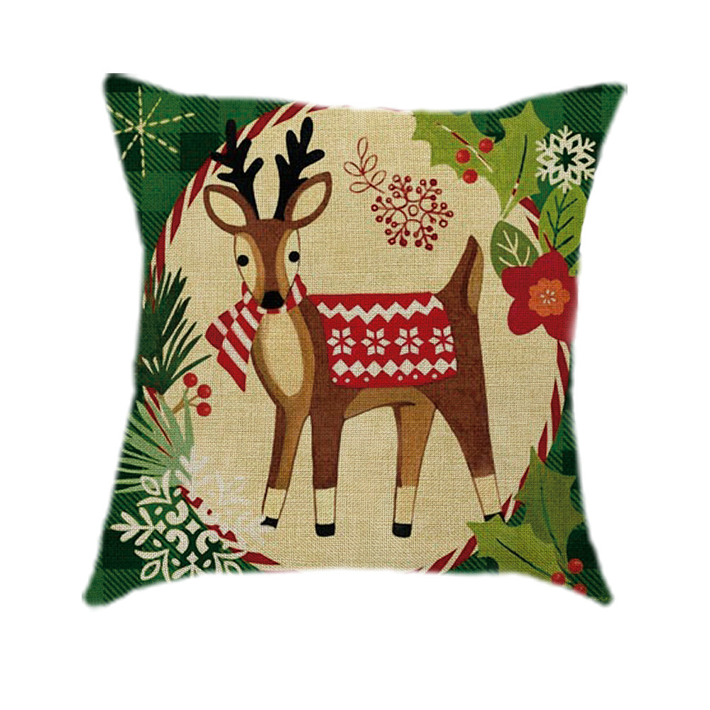 Christmas Xmas Linen Cushion Cover Throw Pillow Case Home: Removable And Washable Cotton Linen Christmas Pillow Case