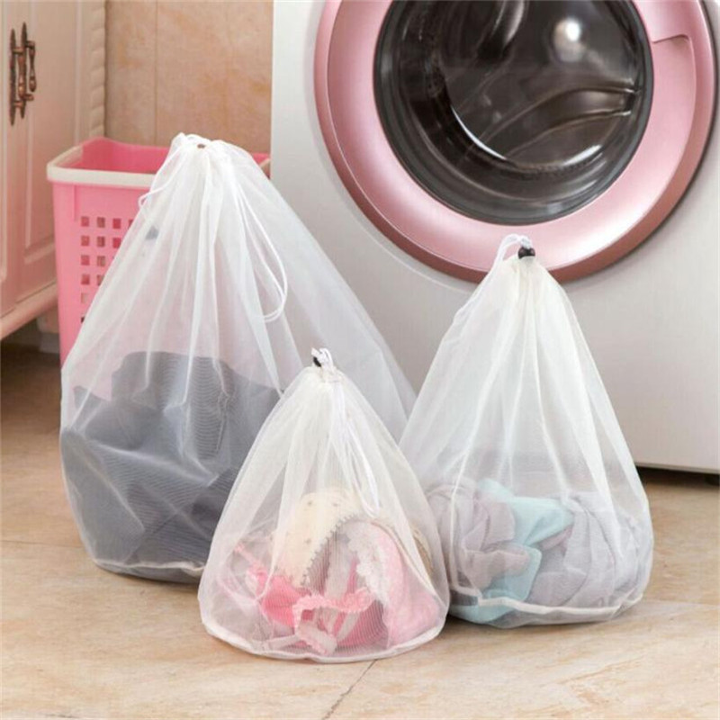 Nylon Laundry Bag Cleaning Zippered Foldable Nylon Bra Socks Underwear Clothes Washing Machine Protection Net Mesh Bags Home