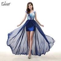 Azul marinho Vestido Longo Floral 2017 V Neck Lace Applique Flor Alta Baixa Chiffon Formal Do Partido Vestido do baile de Finalistas do Vestido