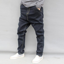 2017 new arrive   autumn and winter male casual denim harem pants  big crotch male plus size plus hanging crotch harem jeans