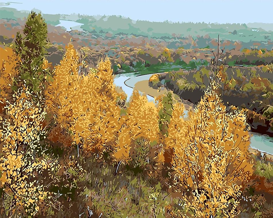 DIY sonbahar rüzgar akçaağaç yaprağı tuval resimlerini elle - Ev Dekoru - Fotoğraf 3