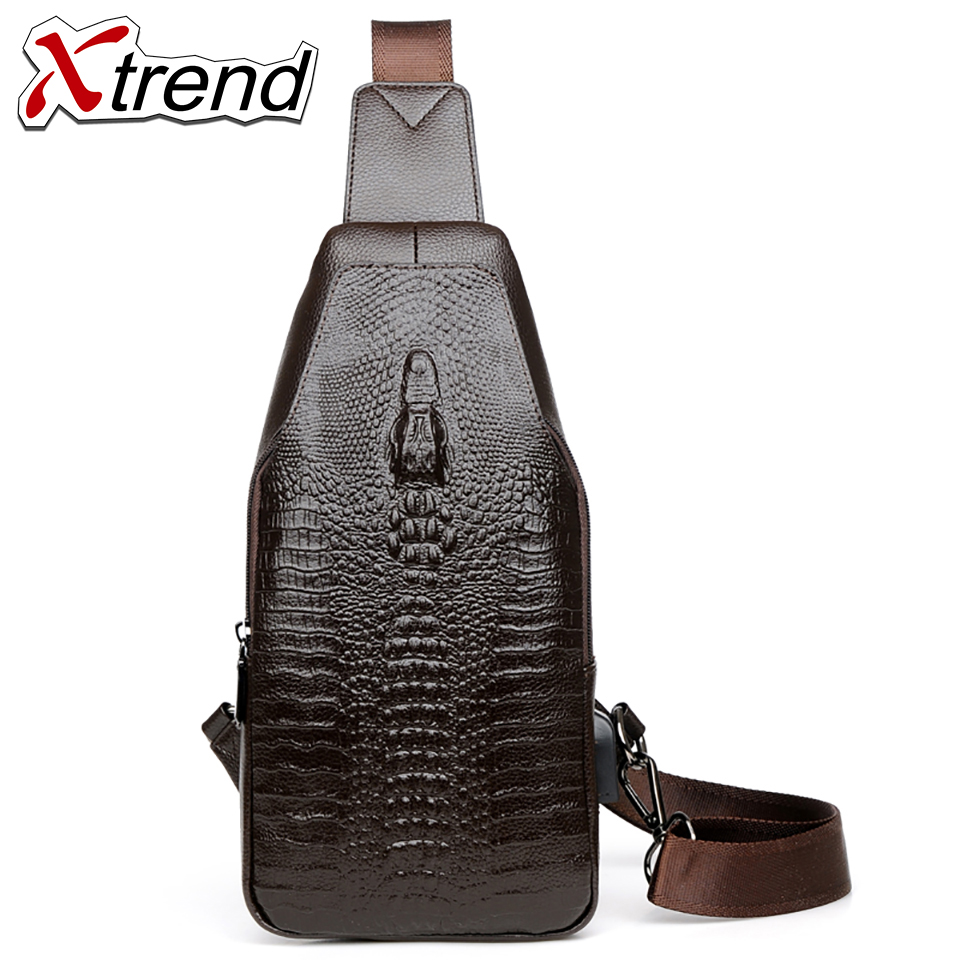 Xtrend Crossbody Bags for Men Messenger Chest Bag Pack Casual Bag Waterproof PU Single Shoulder Strap Pack 2018 New Fashion