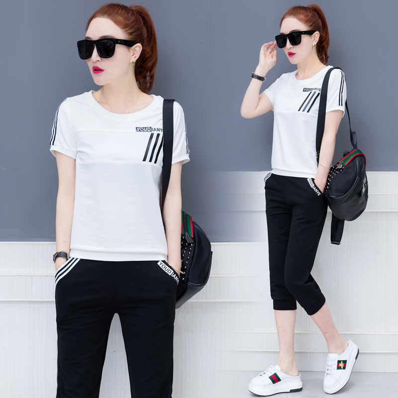 Black White Tracksuits 2 Piece Set Women Pant Suits and Top Outfit Sportswear Fitness Co ord Set Plus Size 2019 Summer Clothing in Women 39 s Sets from Women 39 s Clothing