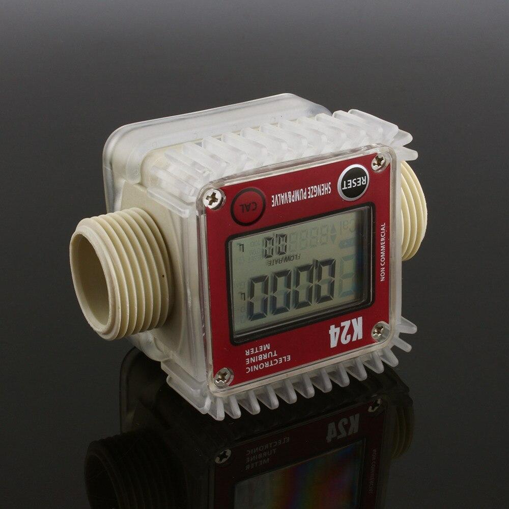 1PC Red Color K24 LCD Turbine Digital Fuel Flow Meter for Chemicals Water Sea Adjust k24 turbine flow meter for water