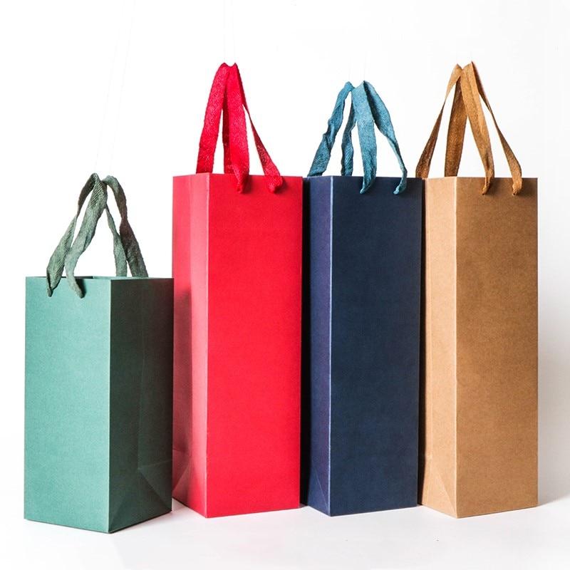 Новинка 2018, креативные Упаковочные пакеты, бумажная Подарочная коробка с веревкой для красного вина, масла, шампань, переноска для бутылок, ...
