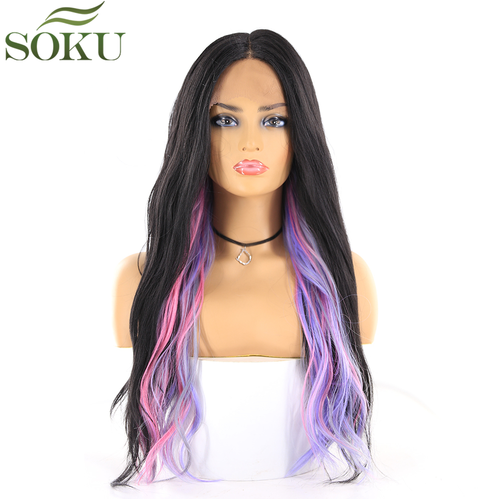 SOKU Wigs Lace-Front Pink Purple Synthetic Wig-20inch Middle-Part Long-Wave Glueless