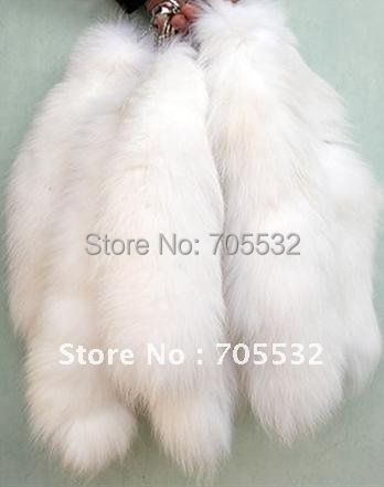 Genuine White Fox Fur Tail Keychain Tassel Bag Handbag Pendant Accessory Purse keyring 16""