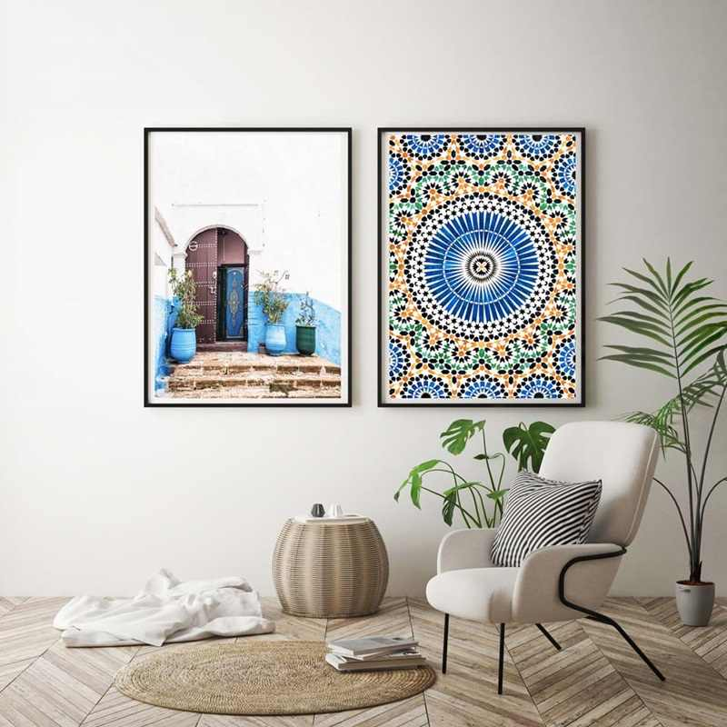 Mosque Blue Door Nordic Poster Morocco Building Wall Art Canvas Painting Religion School Wall Picture For Living Room Home Decor