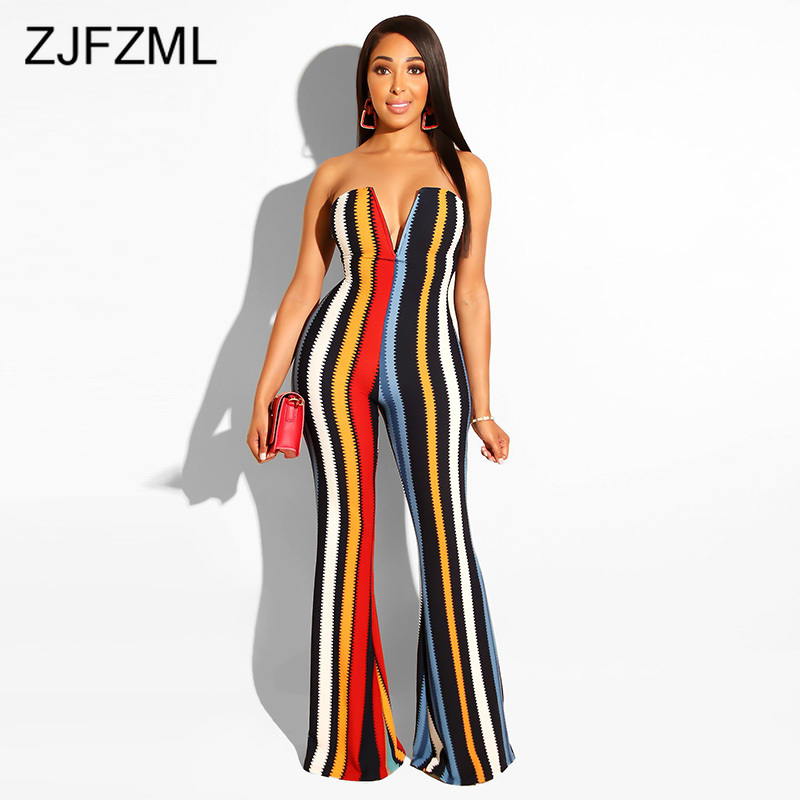 Stripe Print Sexy Overall For Women Summer Deep V Neck Backless One Piece   Jumpsuit   Elegant Off Shoulder Sleeveless Flare Romper
