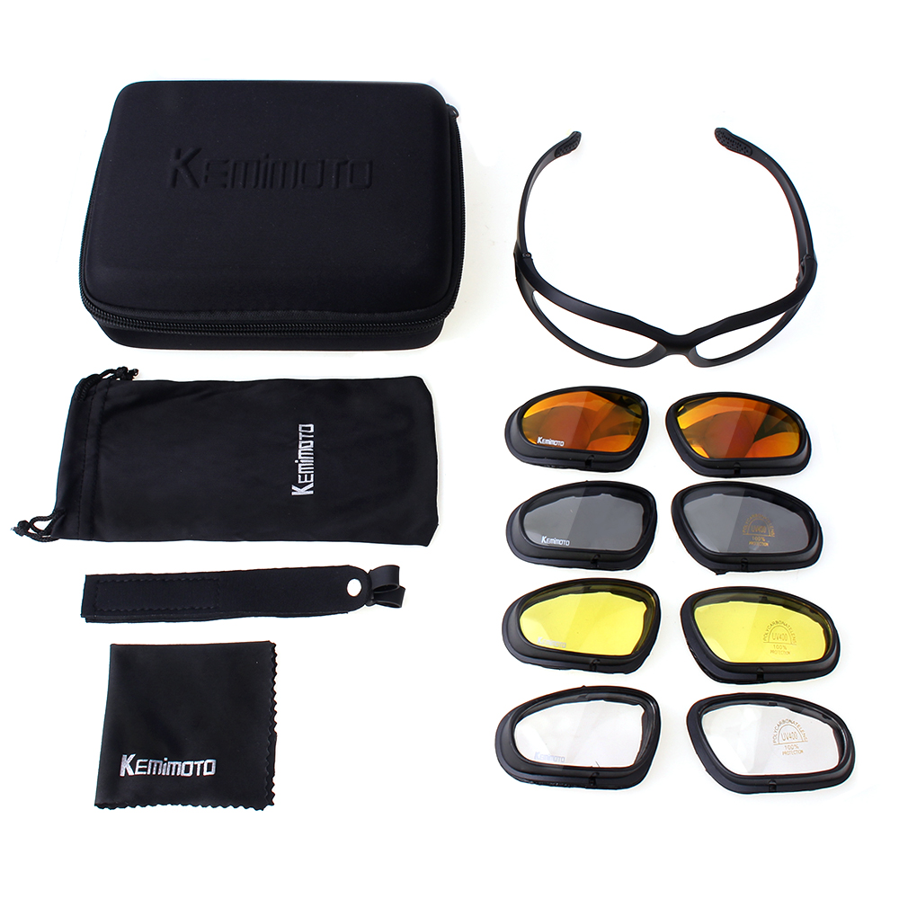 Kemimoto Motorcycle Glasses Riding-Goggles Sport Protective with 4-Lens-Kit for Outdoor