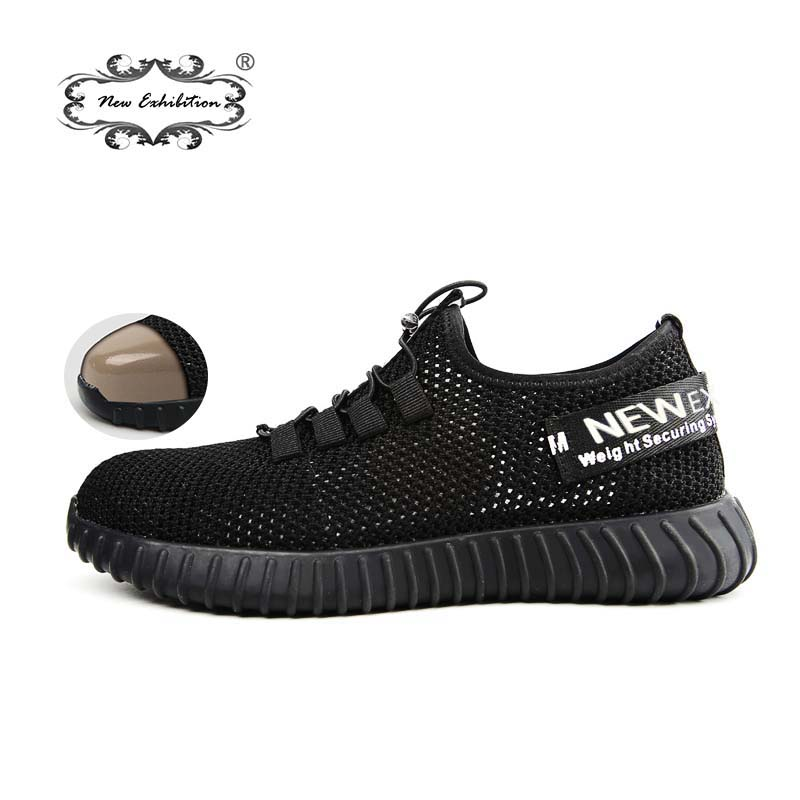 New exhibition breathable safety shoes men s Lightweight summer anti smashing piercing work sandals Single mesh