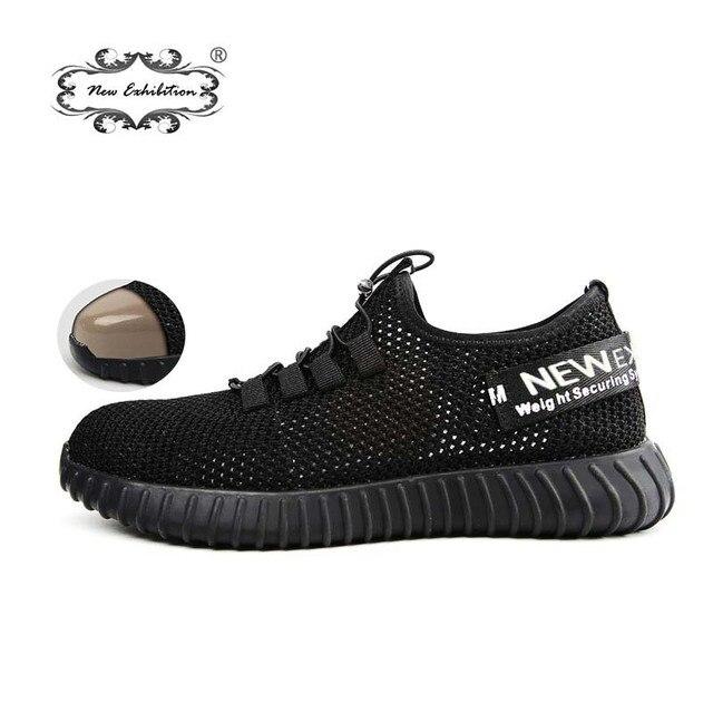 Nowa wystawa oddychające obuwie ochronne męskie lekkie letnie anti-smashing piercing pracy sandały pojedyncze siatki sneakers 35- 46
