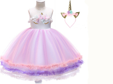 New dress girls princess gauze fluffy unicorn European and American childrens clothing kids