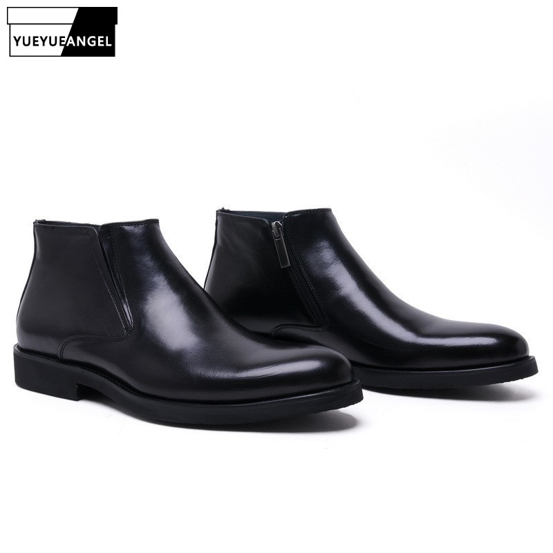 Brand Genuine Leather Mens Ankle Boots High Quality