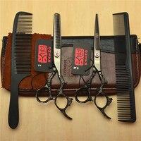 4Pcs Suit 6 Black JP Kasho Professional Human Hair Hairdressing Shears Combs Cutting Thinning Shears Dragon